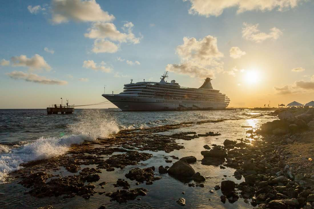 Cruise ship docked at Curacao
